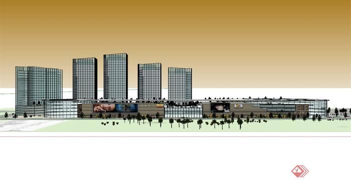 现代电影院商业建筑设计su模型(4)