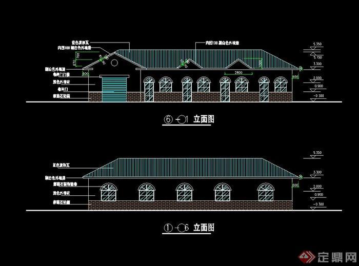 某现代风格公园管理房设计cad施工图[原创]