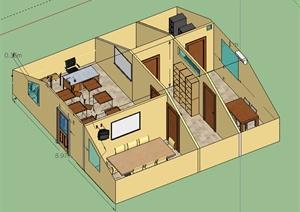 现代小型办公空间SU(草图大师)模型