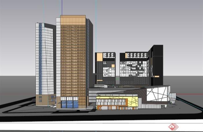 沈阳城市商业综合体建筑设计su模型[原创]
