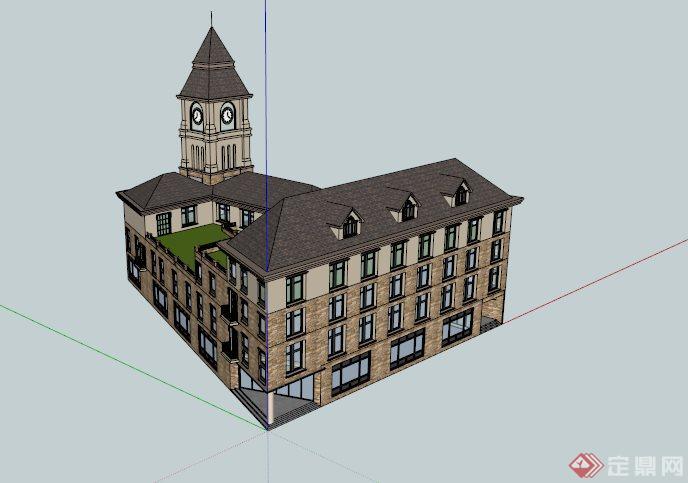欧式钟塔教学楼建筑设计su模型[原创]