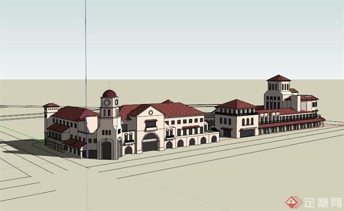 欧式多层商业建筑设计su模型[原创]