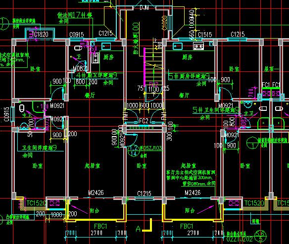 六层住宅楼(两单元一梯两户)建筑施工图-3036平9张cad