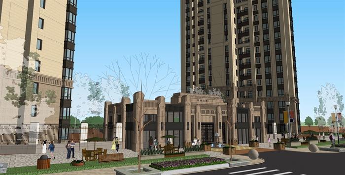新古典风格小区住宅楼及大门入口设计su模型
