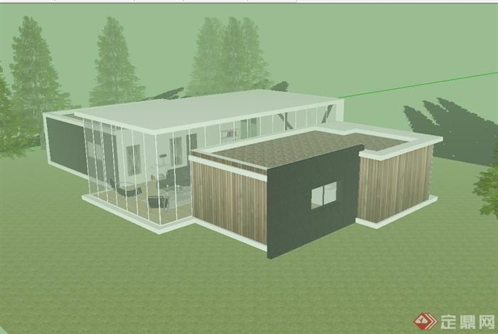 現代風格陽光別墅房子建筑su模型