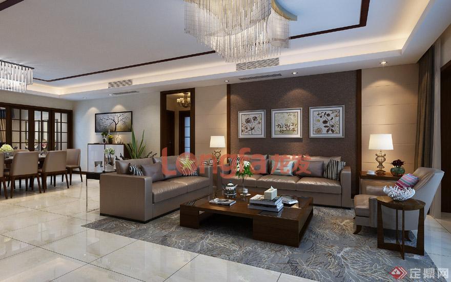 客厅 沙发背景墙 新中式风格 装修效果图】图片来源于:西安龙发装饰