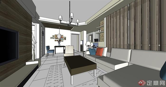 某现代风格住宅家装室内设计su模型(2)