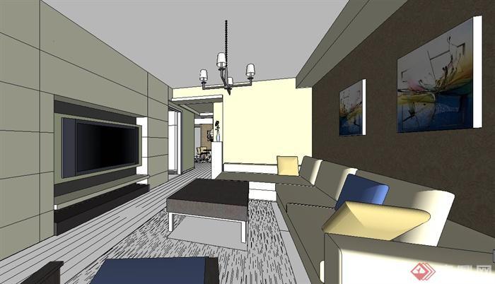 现代风格住宅空间家装室内设计su模型(1)