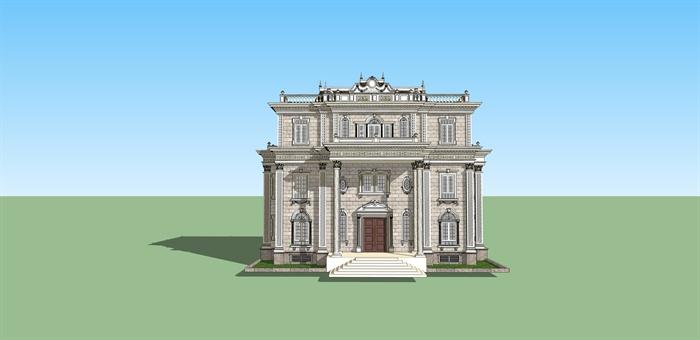 美式风格自建别墅建筑设计su模型[原创]
