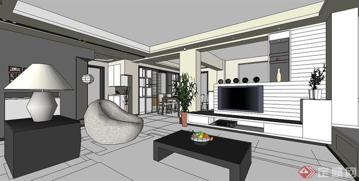 现代风格室内空间住宅装饰设计su模型(1)