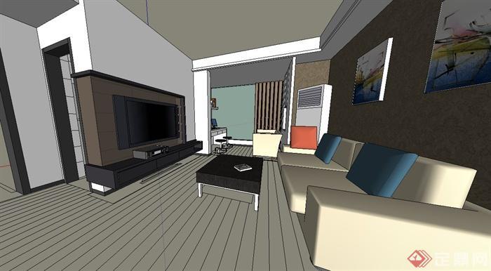 現代風格室內家裝設計su模型(2)