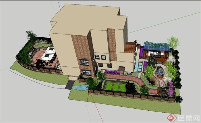现代别墅庭院花园设计SU模型素材