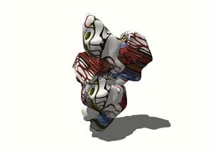 现代风格景石雕塑小品设计SU(草图大师)模型