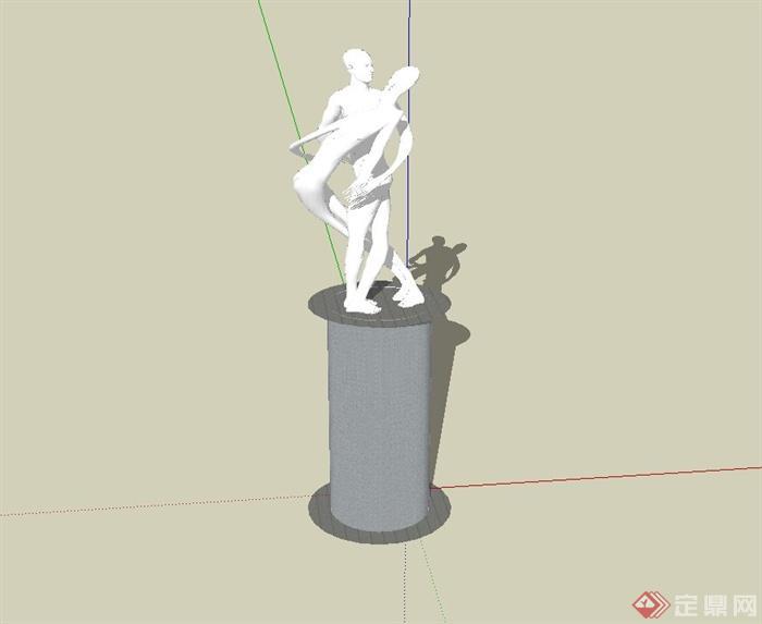 现代风格人物雕塑小品及小品柱设计su模型[原创]