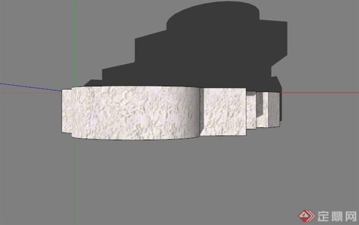 现代石头拼接雕塑设计su模型(2)