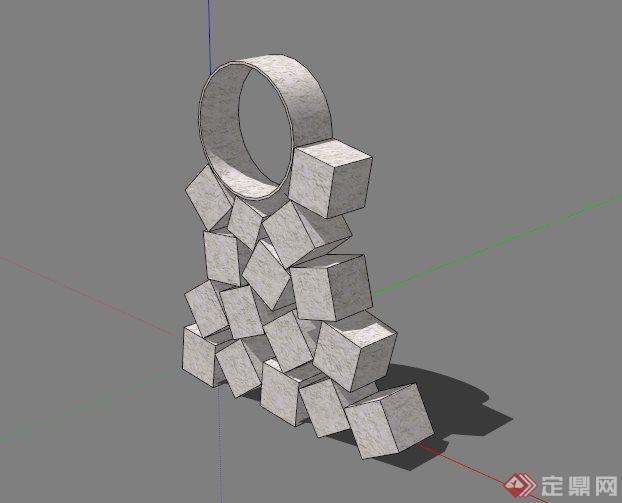 现代石头拼接雕塑设计su模型(1)