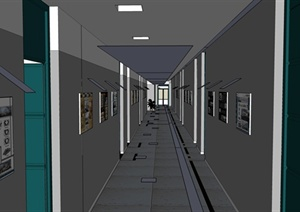 某现代风格学校走廊展示设计SU(草图大师)模型