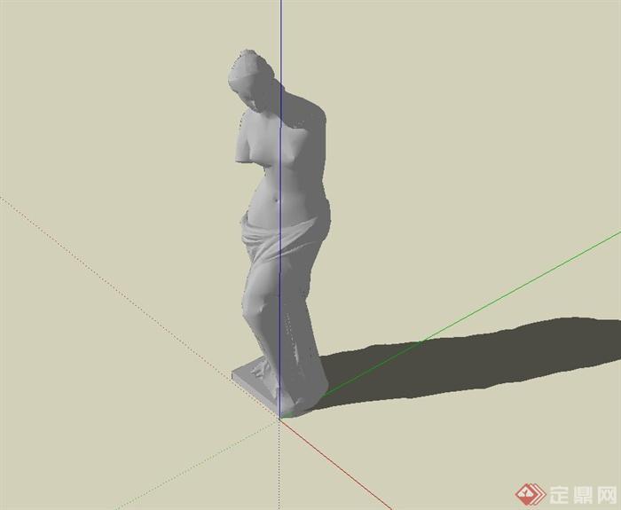 欧式风格人物石膏雕塑设计su模型[原创]