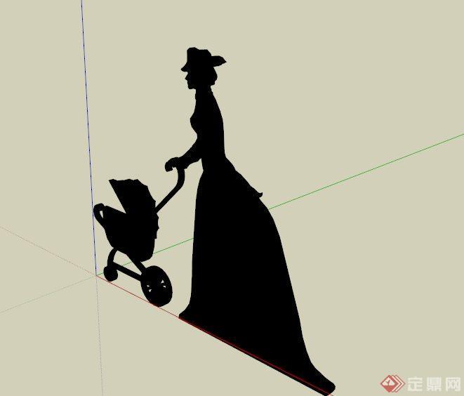 现代母子剪影雕塑设计su模型[原创]