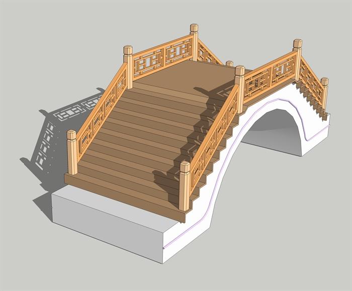 古典中式风格节点木桥拱桥设计su模型