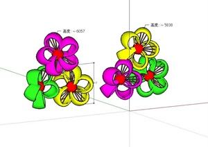 现代风格景观抽象小品设计SU(草图大师)模型