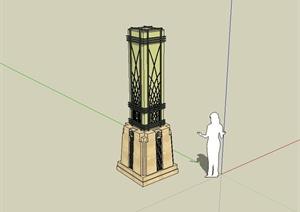 新古典风格景观柱子设计SU(草图大师)模型