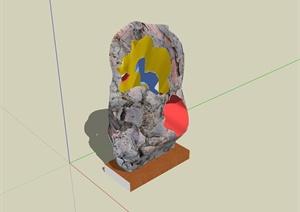 现代风格精致详细景石小品设计SU(草图大师)模型
