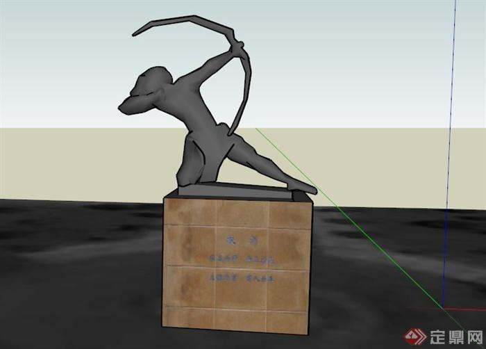 现代弓射人物雕塑小品su模型(1)