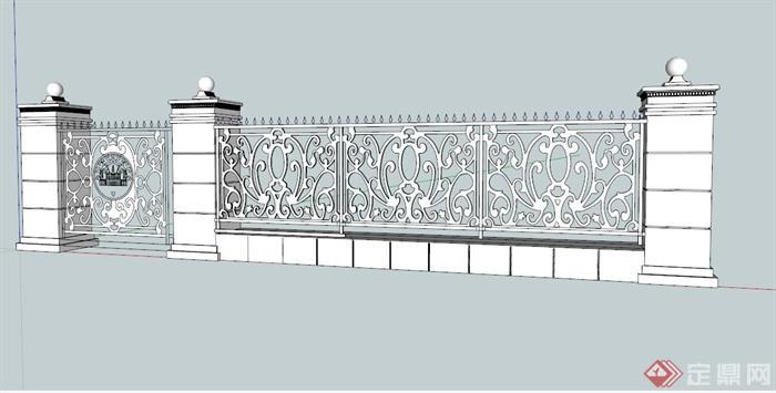 欧式铁艺围墙大门设计su模型[原创]