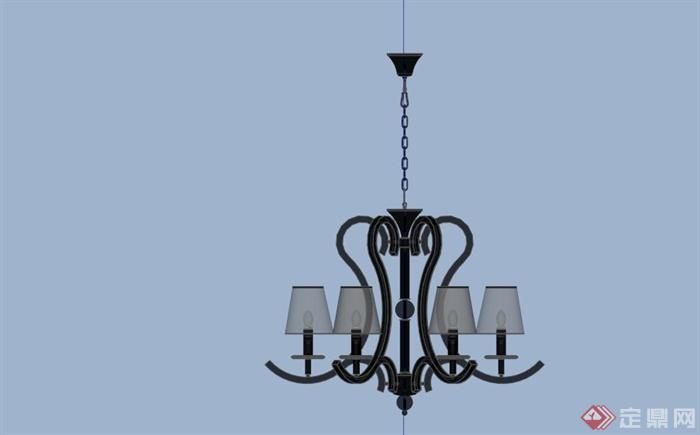 欧式铁艺吊灯设计su模型(3)