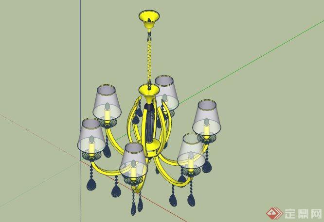 欧式水晶吊灯设计su模型(1)