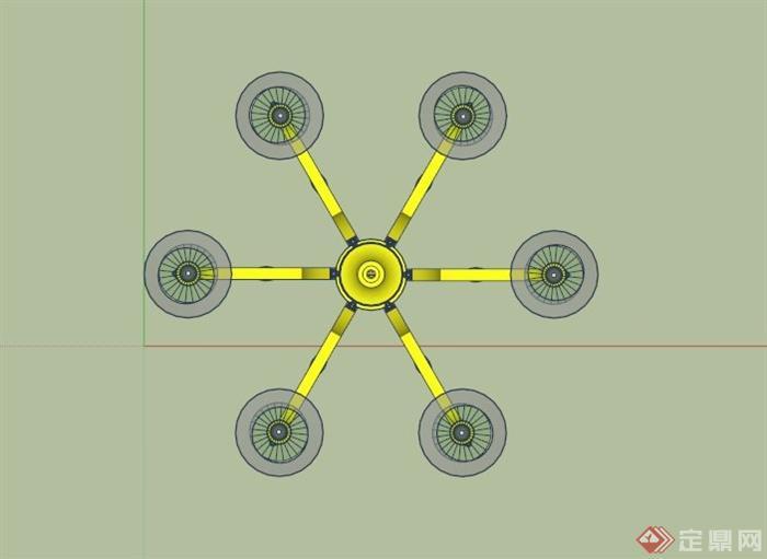 欧式水晶吊灯设计su模型(2)