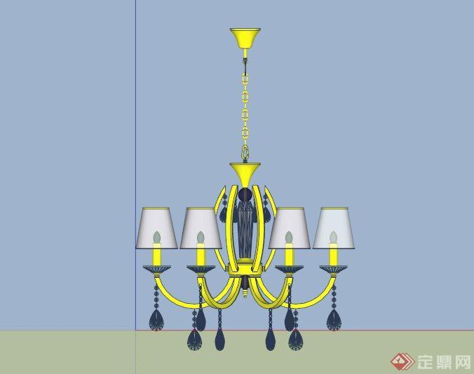 欧式水晶吊灯设计su模型(3)