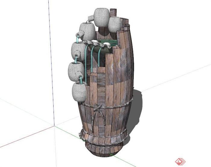 陶罐木桶跌水池设计su模型[原创]