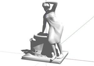 现代风格人物雕塑SU(草图大师)模型