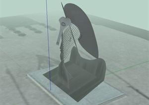现代风格抽象人物雕塑设计SU(草图大师)模型