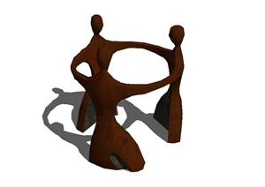 三人手拉手抽象小品设计SU(草图大师)模型