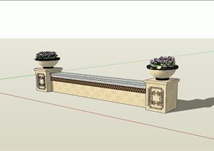 欧式风格矮墙坐凳花钵组合设计SU(草图大师)模型