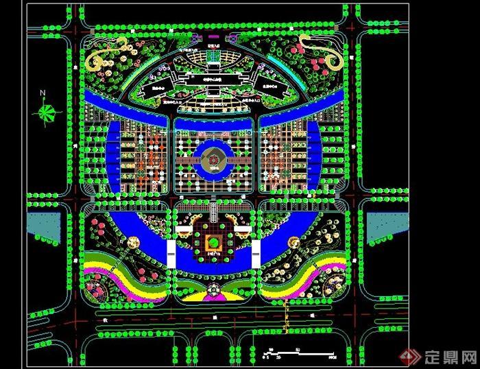 大型圆形广场景观设计cad方案[原创]