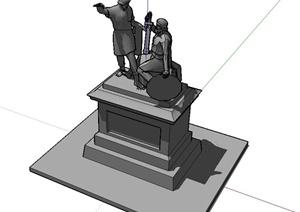 勇士人物雕塑设计SU(草图大师)模型