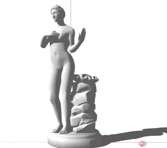 欧式人体女性人物雕塑设计su模型(3)