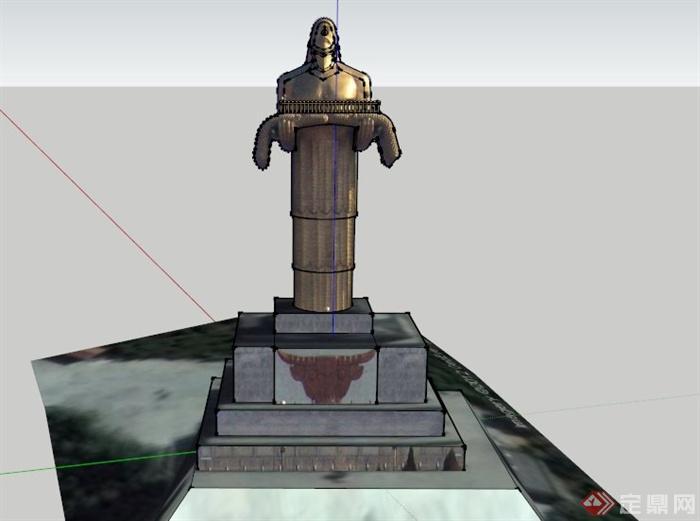 现代铜质人物雕塑设计su模型[原创]