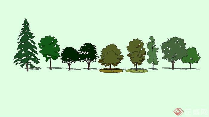 景观树手绘设计su模型