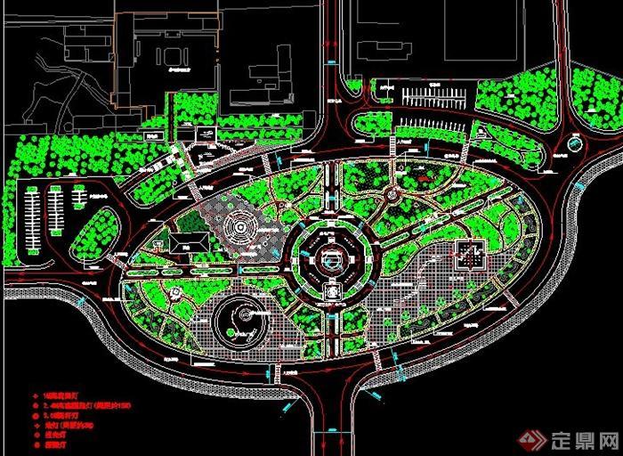现代圆形休闲广场景观设计cad方案[原创]