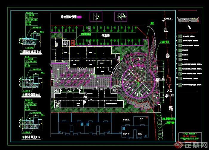 现代风格详细广场植物配置设计cad图纸[原创]