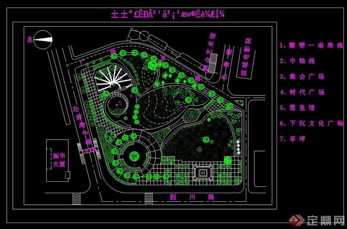 现代风格广场植物配置设计cad图[原创]