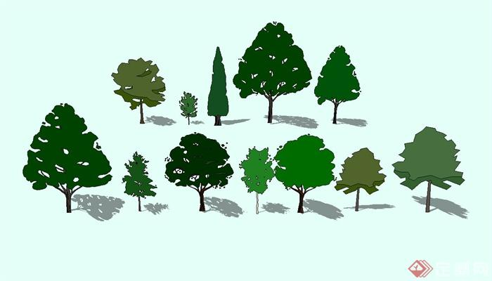 多种不同的园林手绘植物设计su模型[原创]