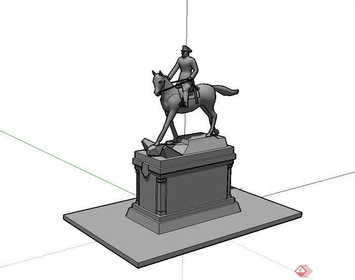 现代风格骑马人物雕塑设计su模型(1)