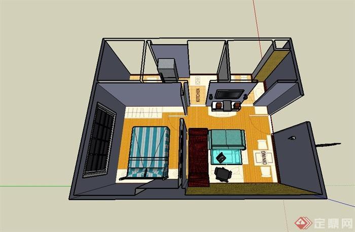 小户型单身公寓住宅室内装饰设计su模型(3)