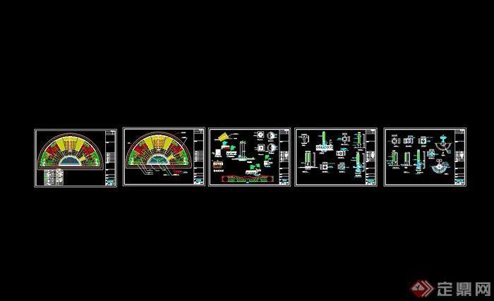 现代风格半圆形广场植物配置图以及cad施工图[原创]